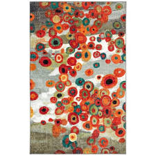 Orange And Turquoise Area Rug 5x8 Color Area Rug Mohawk Home Floral Modern Large Living Room