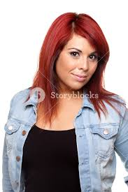 hispanic hair pics young hispanic woman with bright red hair head and shoulders