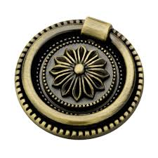 Kitchen Cabinet Handles With Backplates Liberty 1 3 4 In 44mm Antique Brass Round Ring Pull With