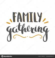 family gathering lettering isolated on white stock vector