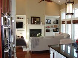 fireplace bookshelves vaulted ceiling amazing picture dining room