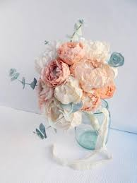 wedding flowers bouquet paper flower bouquet with peonies ranunculus and eucalyptus