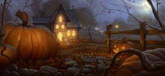 background halloween images halloween big pumpkin and house background gallery yopriceville