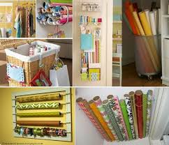 creative organizing ideas gift wrapping storage