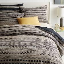 organic washed woven dot duvet shams black west elm