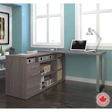 l shaped desk with hutch left return bestar solay gray l shape desk