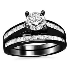 black band engagement rings 14k black gold engagement ring wedding set engagement