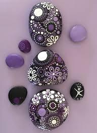 hand painted rocks painted stones mandala design purple