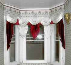 Wide Window Curtains by Dollhouse Miniature 1 12 Scale Wide Bay Window Red And White