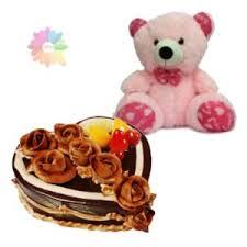 feet height pink colour teddy bear with 1 kg heart shape chocolate
