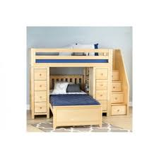 chester 1 natural loft bunk bed stairs u0026 storage solid wood