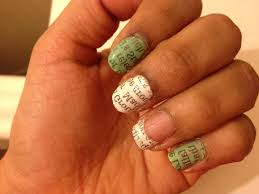 news paper nail art with water pop goes the whistle