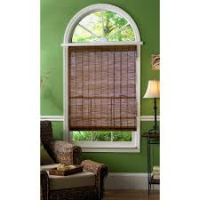 hampton bay caramel simple weave flatstick bamboo roman shade 23