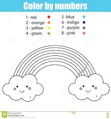 coloring page with cute kawaii rainbow color by numbers stock
