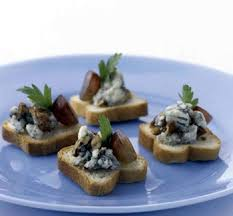 canape recipes blue cheese canapes with pecans and grapes recipe epicurious com