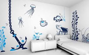 Kids Bedroom Wall Paintings Amazing Wall Stickers With Under Sea Theme For Nautical Kids