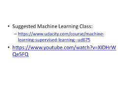 html tutorial udacity suggested machine learning class https www udacity com course