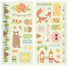weekend adventures chipboard by bo bunny for scrapbooks cards
