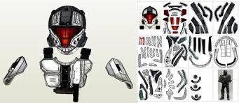 papermau halo 3 cobra spartan helmet paper model by mtk card craft