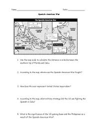 spanish american war map worksheet with answer key by jmr history