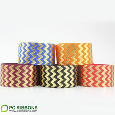 grosgrain ribbon by the yard free shipping 38mm printed grosgrain ribbon foil puff gold chevron