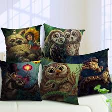 Owl Lovers by Square Pillow Cover Forest Owl Lovers Cushion Cover Cotton Linen