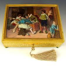 Gilt Bonze Enameled Portrait Antique Gilt Bronze Jewelry Casket Box Enamel Portrait