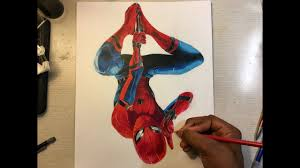 spiderman homecoming tom holland color pencil drawing