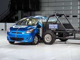 mirage mitsubishi 2014 2014 mitsubishi mirage side iihs crash test youtube