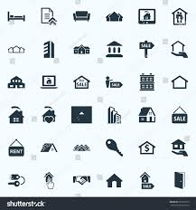 vector illustration set simple property icons stock vector