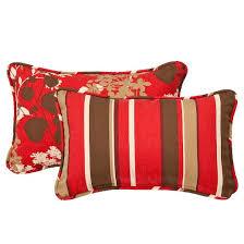 2 piece outdoor reversible lumbar pillow set brown red floral