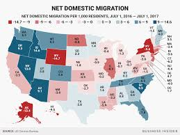 In And Out Map State Domestic Migration Map 2016 To 2017 Business Insider