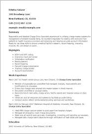 Medical Billing Job Description For Resume by Professional Charge Entry Specialist Templates To Showcase Your