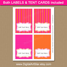 pink and orange candy buffet label printables digital art star