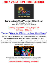 let your light shine vacation bible vbs mount calvary baptist church hartford ct advancement of