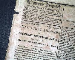 inaugural address of president jefferson davis the fall of fort