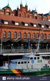 coast guard ship and german customs museum historic warehouse stock