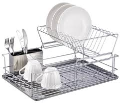 dish drainer for small side of sink amazon com home basics 2 tier steel dish rack with removable