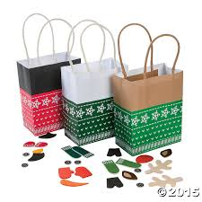 christmas sweater character gift bag craft kit 12 pk party