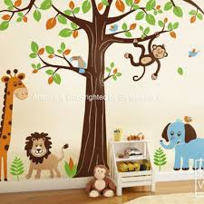 Safari Nursery Wall Decals Jungle Safari Animals Set Nursery Playroom Vinyl Wall
