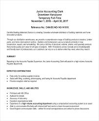 Accounts Payable Clerk Resume Sample by Senior Accountant Job Description Accountant Resume Objective