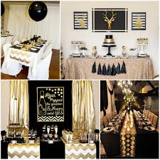 Birthday Table Decorations by Black And Gold Party Table Decorations Party Deco Pinterest
