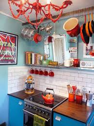 fabulous small bohemian kitchen design layout with blue cabinets