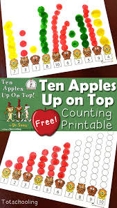 ten apples up on top counting printable activity totschooling