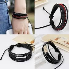 leather bracelet wristband images Sale 1pc fashion men cool leather bracelet weave multilayer jpg