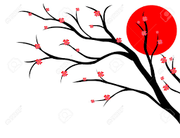 branch of cherry japanese style royalty free cliparts vectors
