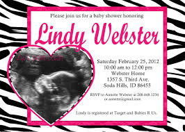 baby shower invitation zebra pink ultrasound heart or circle