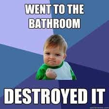 Bathroom Meme - went to the bathroom destroyed it success kid quickmeme