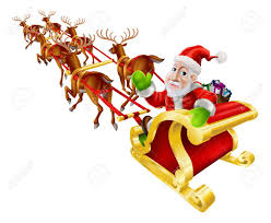 cartoon christmas illustration of santa claus flying in his sled