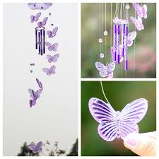 butterfly wind chime bell garden ornament gift yard